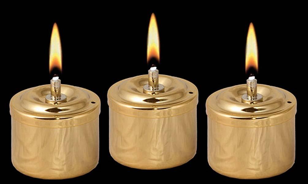 Drie Gouden RVS Olielampjes