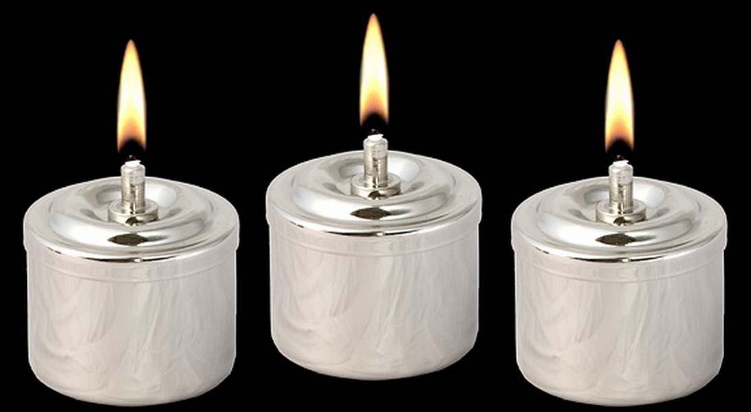 Drie Zilveren RVS Olielampjes